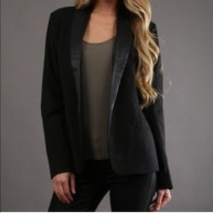 BB Dakota black blazer pleather trim Aztec print